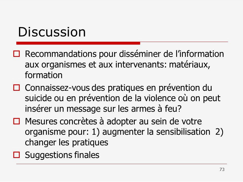 73 Discussion  Recommandations pour disséminer de l'information aux organismes et aux intervenants: matériaux, formation  Connaissez-vous des pratiq