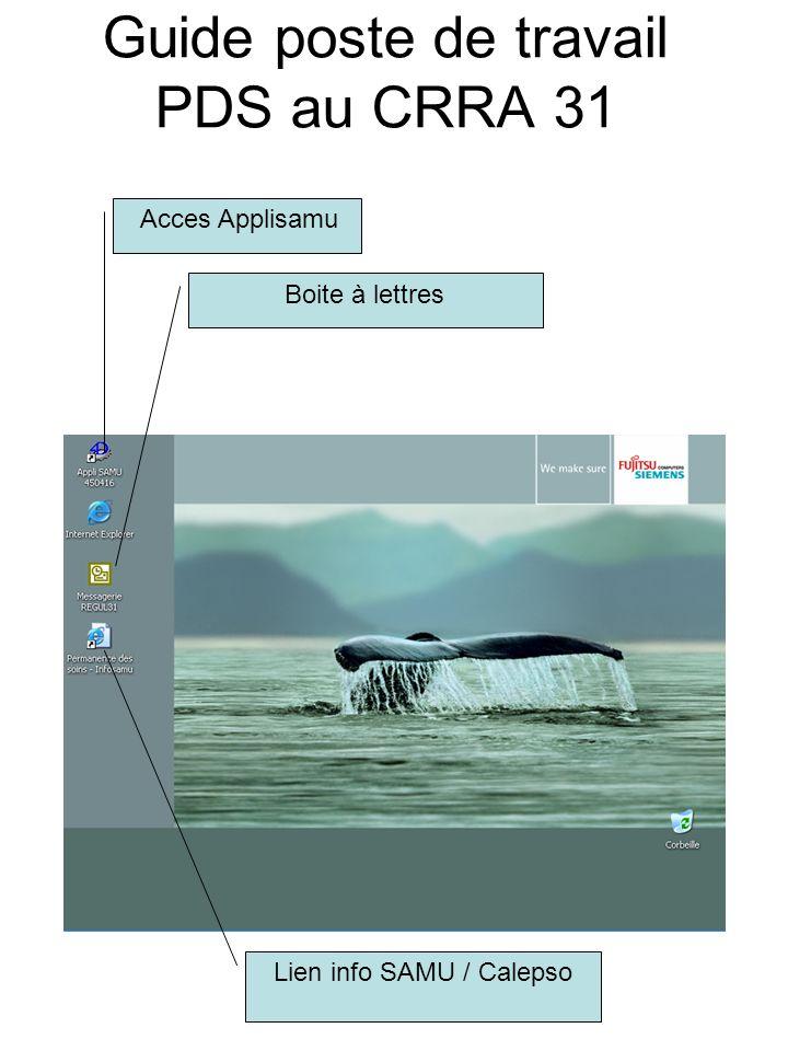 Guide poste de travail PDS au CRRA 31 Acces Applisamu Boite à lettres Lien info SAMU / Calepso