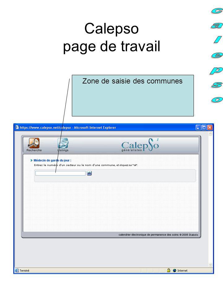 Calepso page de travail Zone de saisie des communes
