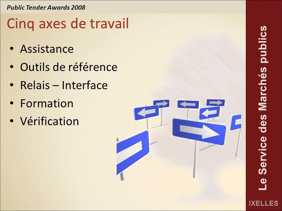 Public Tender Awards 2008 IXELLES Le Service des Marchés publics Cinq axes de travail Assistance Outils de référence Relais – Interface Formation Vérification
