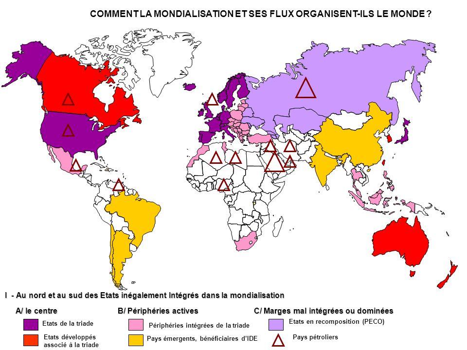 I - AU NORD ET AU SUD DES TERRITOIRES INEGALEMENT INTEGRES DANS LA MONDIALISATION Périphéries intégrées de la triade: Indonésie B/ Périphéries actives Pays émergents, bénéficiaires d'IDE: Inde Etats en recomposition (PECO): Roumanie C/ Marges mal intégrées ou dominées Pays pétroliers: Arabie Saoudite PMA, Pays coupés du marché mondial: Madagascar PED: Pakistan Angles morts: Groenland Etats de la triade: USA A/ le centre Etats développés associé à la triade: Australie Centre d'impulsion majeur, concentration de richesse: Mégalopole Nord-Est des USA.