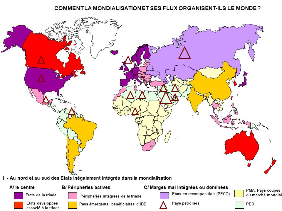 I - Au nord et au sud des Etats inégalement Intégrés dans la mondialisation Etats de la triade A/ le centre COMMENT LA MONDIALISATION ET SES FLUX ORGANISENT-ILS LE MONDE .