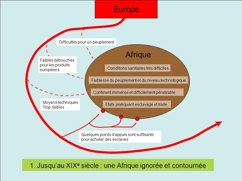 1. Jusqu'au XIX e siècle : une Afrique ignorée et contournée Continent immense et difficilement pénétrable Etats pratiquant esclavage et traite Faible