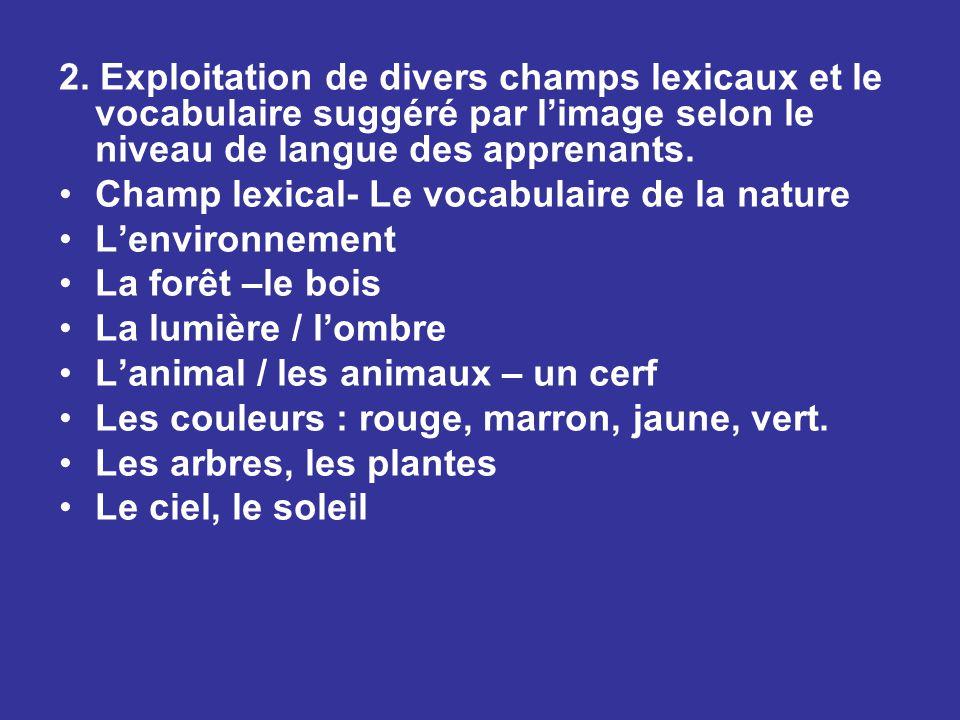 2. Exploitation de divers champs lexicaux et le vocabulaire suggéré par l'image selon le niveau de langue des apprenants. Champ lexical- Le vocabulair