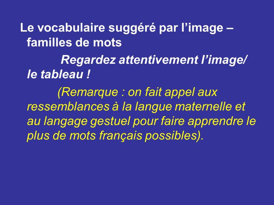 Le vocabulaire suggéré par l'image – familles de mots Regardez attentivement l'image/ le tableau .