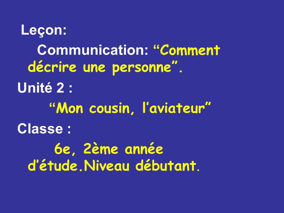 Leçon: Communication: Comment décrire une personne .
