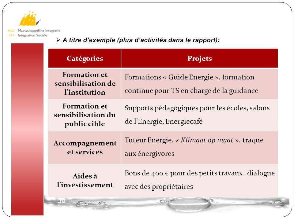18 CatégoriesProjets Formation et sensibilisation de l'institution Formations « Guide Energie », formation continue pour TS en charge de la guidance F