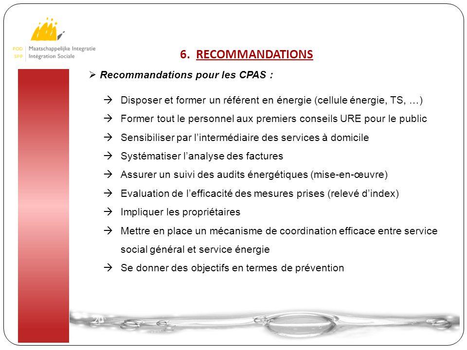 20  Recommandations pour les CPAS :  Disposer et former un référent en énergie (cellule énergie, TS, …)  Former tout le personnel aux premiers cons