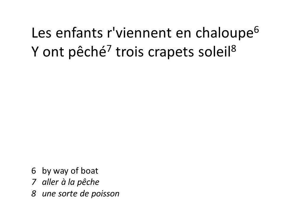 Les enfants r viennent en chaloupe 6 Y ont pêché 7 trois crapets soleil 8 6by way of boat 7aller à la pêche 8une sorte de poisson