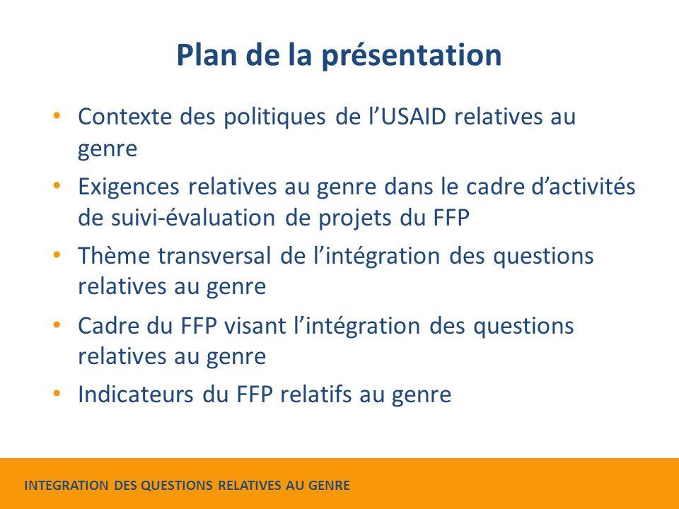Plan de la présentation Contexte des politiques de l'USAID relatives au genre Exigences relatives au genre dans le cadre d'activités de suivi-évaluati