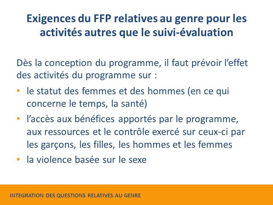 Exigences du FFP relatives au genre pour les activités autres que le suivi-évaluation Dès la conception du programme, il faut prévoir l'effet des acti