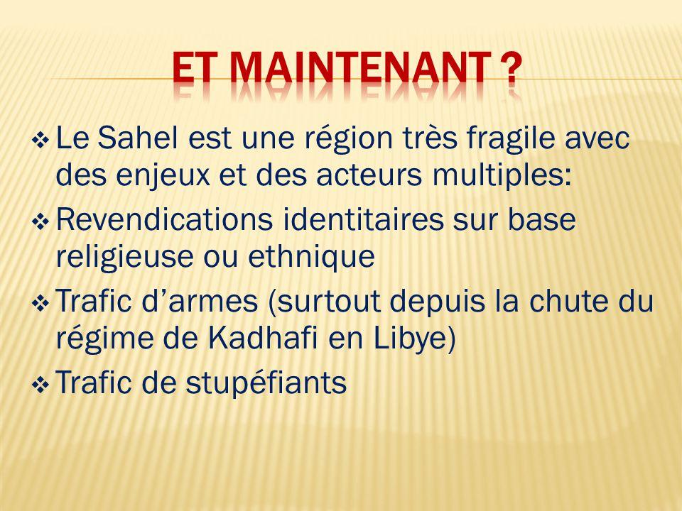  Le Sahel est une région très fragile avec des enjeux et des acteurs multiples:  Revendications identitaires sur base religieuse ou ethnique  Trafic d'armes (surtout depuis la chute du régime de Kadhafi en Libye)  Trafic de stupéfiants
