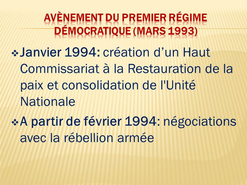  9 octobre 1994: signature du premier accord de paix entre le gouvernement et la Coordination de la Résistance Armée (CRA) à Ouagadougou  Mars 1995: accord de paix définitif signé avec la CRA  La CRA décide de sa propre dissolution