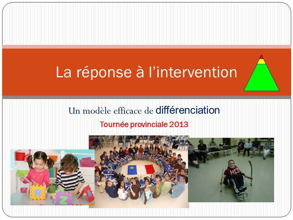 Un modèle efficace de différenciation Tournée provinciale 2013 La réponse à l'intervention
