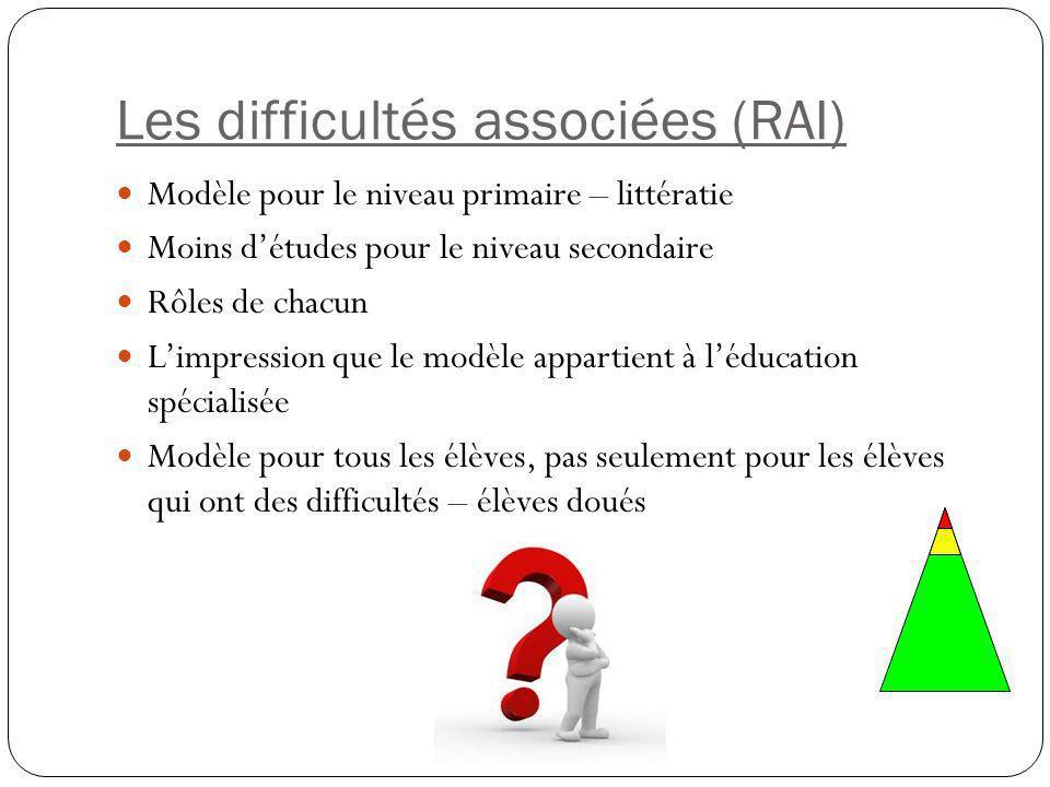 Les difficultés associées (RAI) Modèle pour le niveau primaire – littératie Moins d'études pour le niveau secondaire Rôles de chacun L'impression que le modèle appartient à l'éducation spécialisée Modèle pour tous les élèves, pas seulement pour les élèves qui ont des difficultés – élèves doués