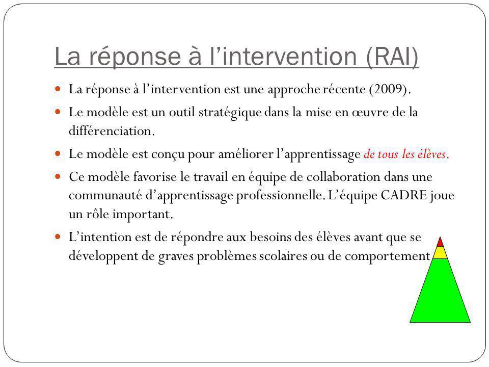 La réponse à l'intervention (RAI) La réponse à l'intervention est une approche récente (2009). Le modèle est un outil stratégique dans la mise en œuvr