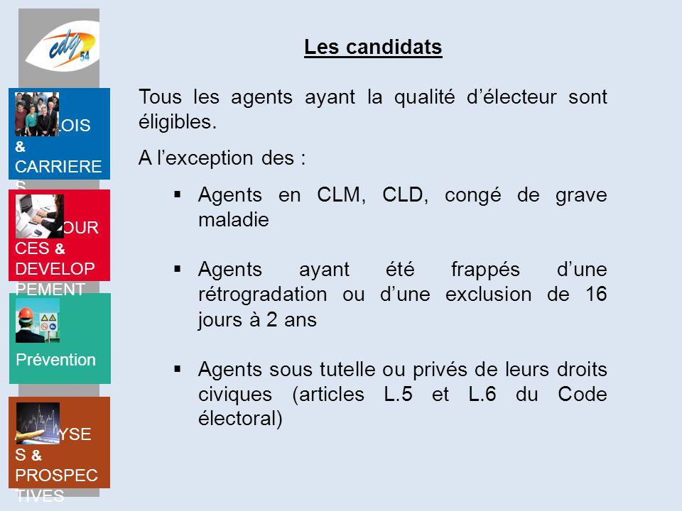Prévention EMPLOIS & CARRIERE S RESSOUR CES & DEVELOP PEMENT ANALYSE S & PROSPEC TIVES Les candidats Tous les agents ayant la qualité d'électeur sont éligibles.