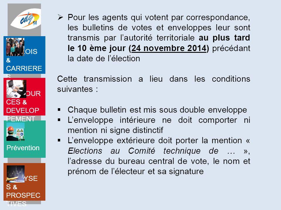 Prévention EMPLOIS & CARRIERE S RESSOUR CES & DEVELOP PEMENT ANALYSE S & PROSPEC TIVES Bulletins de vote et enveloppes Le modèle des bulletins de vote et des enveloppes est fixé par l'autorité territoriale.