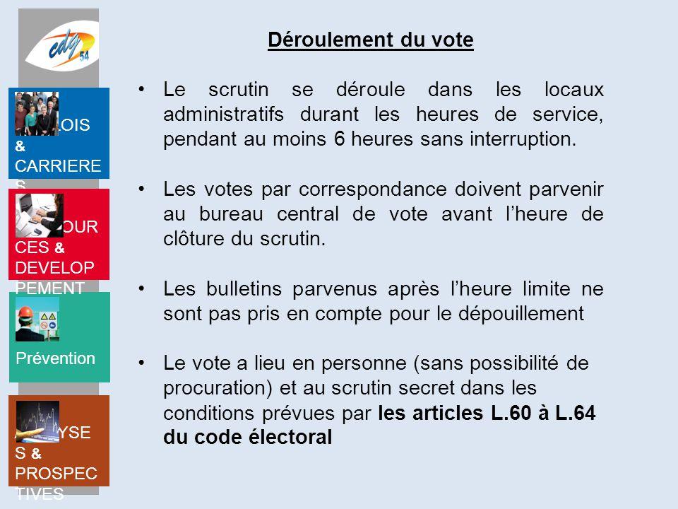Prévention EMPLOIS & CARRIERE S RESSOUR CES & DEVELOP PEMENT ANALYSE S & PROSPEC TIVES Les électeurs doivent voter pour une liste complète.