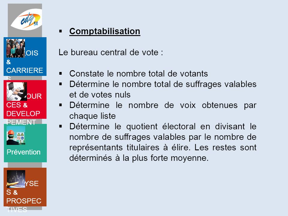 Prévention EMPLOIS & CARRIERE S RESSOUR CES & DEVELOP PEMENT ANALYSE S & PROSPEC TIVES  Comptabilisation Le bureau central de vote :  Constate le no