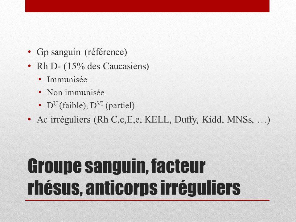 Groupe sanguin, facteur rhésus, anticorps irréguliers Gp sanguin (référence) Rh D- (15% des Caucasiens) Immunisée Non immunisée D U (faible), D VI (pa