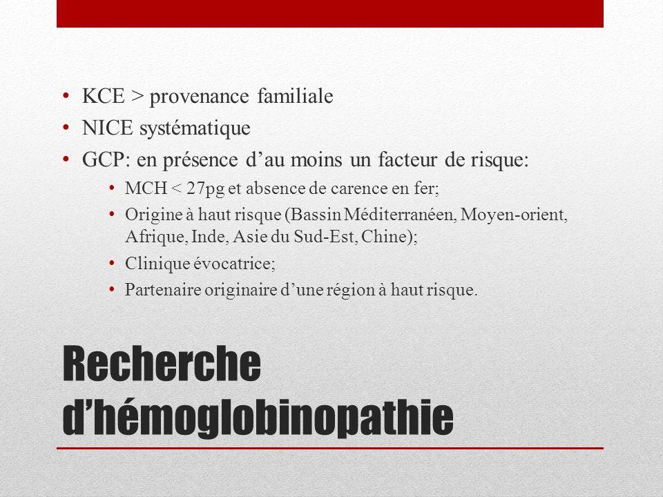 Recherche d'hémoglobinopathie KCE > provenance familiale NICE systématique GCP: en présence d'au moins un facteur de risque: MCH < 27pg et absence de
