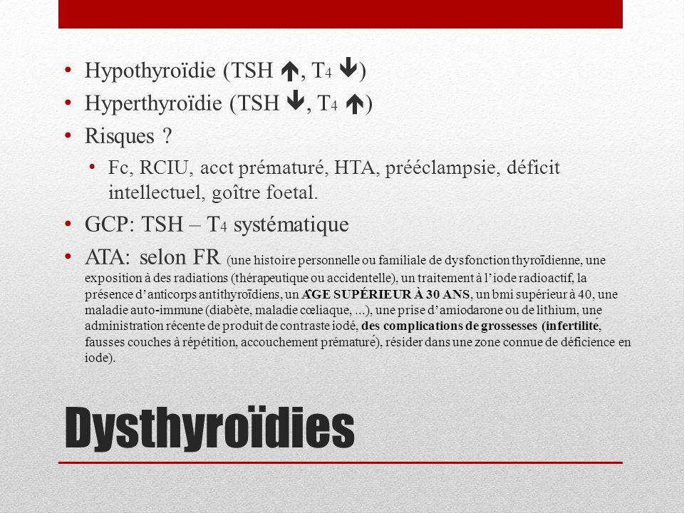 Dysthyroïdies Hypothyroïdie (TSH , T 4  ) Hyperthyroïdie (TSH , T 4  ) Risques ? Fc, RCIU, acct prématuré, HTA, prééclampsie, déficit intellectuel