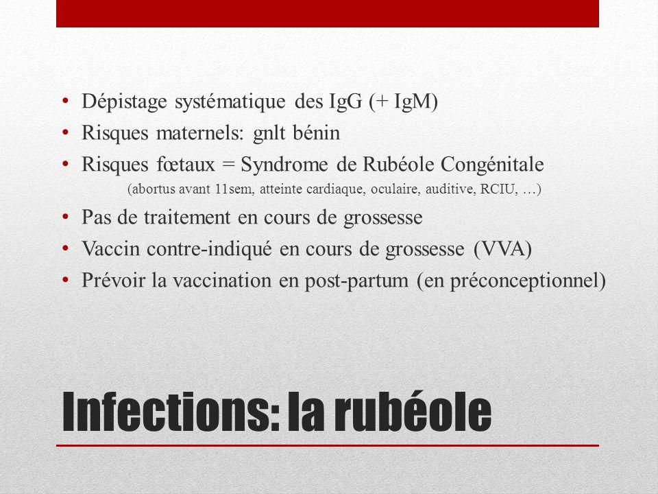 Infections: la rubéole Dépistage systématique des IgG (+ IgM) Risques maternels: gnlt bénin Risques fœtaux = Syndrome de Rubéole Congénitale (abortus