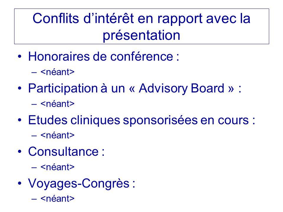 Conflits d'intérêt en rapport avec la présentation Honoraires de conférence : – Participation à un « Advisory Board » : – Etudes cliniques sponsorisée