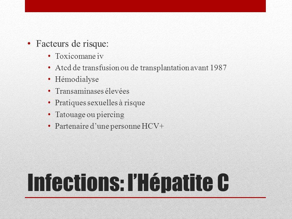 Infections: l'Hépatite C Facteurs de risque: Toxicomane iv Atcd de transfusion ou de transplantation avant 1987 Hémodialyse Transaminases élevées Prat