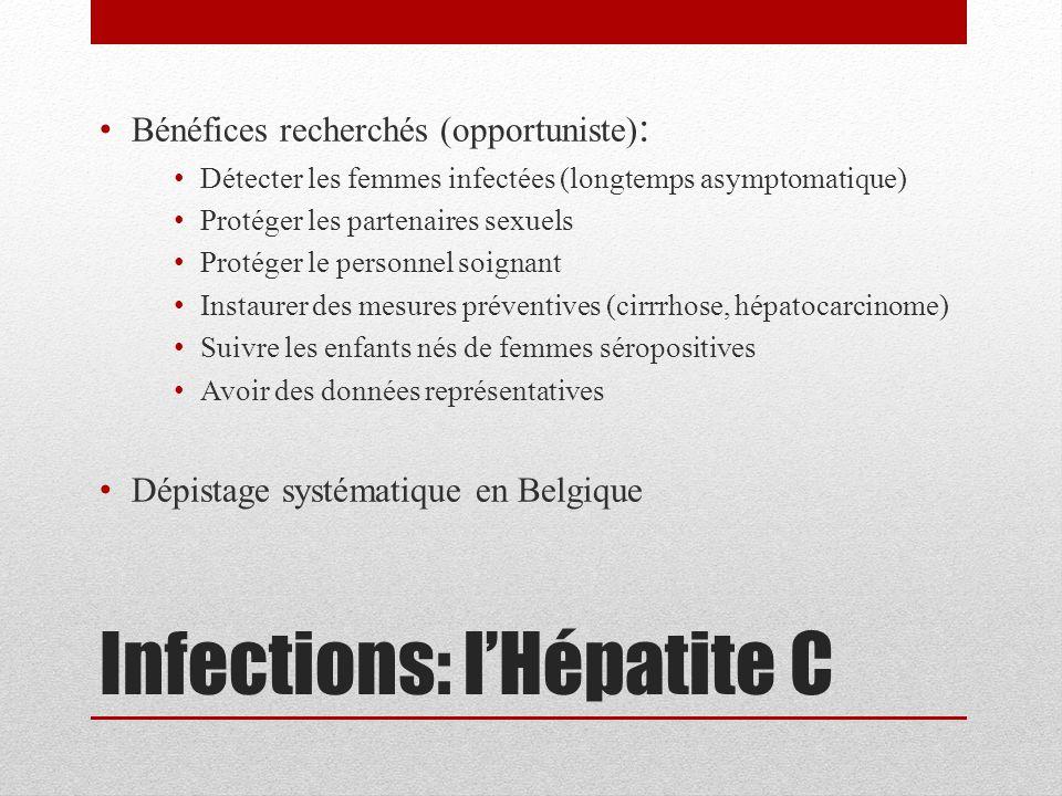 Infections: l'Hépatite C Bénéfices recherchés (opportuniste) : Détecter les femmes infectées (longtemps asymptomatique) Protéger les partenaires sexue