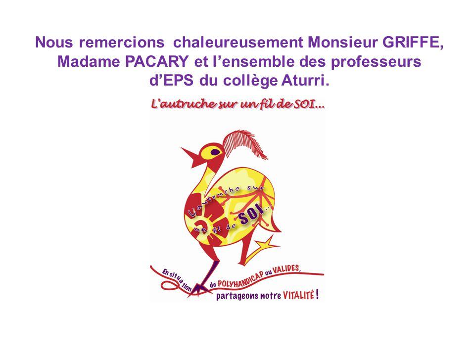Nous remercions chaleureusement Monsieur GRIFFE, Madame PACARY et l'ensemble des professeurs d'EPS du collège Aturri.