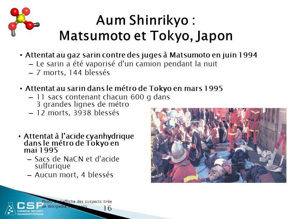 16 Aum Shinrikyo : Matsumoto et Tokyo, Japon Attentat au gaz sarin contre des juges à Matsumoto en juin 1994 – Le sarin a été vaporisé d un camion pendant la nuit – 7 morts, 144 blessés Attentat au sarin dans le métro de Tokyo en mars 1995 – 11 sacs contenant chacun 600 g dans 3 grandes lignes de métro – 12 morts, 3938 blessés Photo de l affiche des suspects tirée de Wikipedia Commons Attentat à l acide cyanhydrique dans le métro de Tokyo en mai 1995 – Sacs de NaCN et d acide sulfurique – Aucun mort, 4 blessés