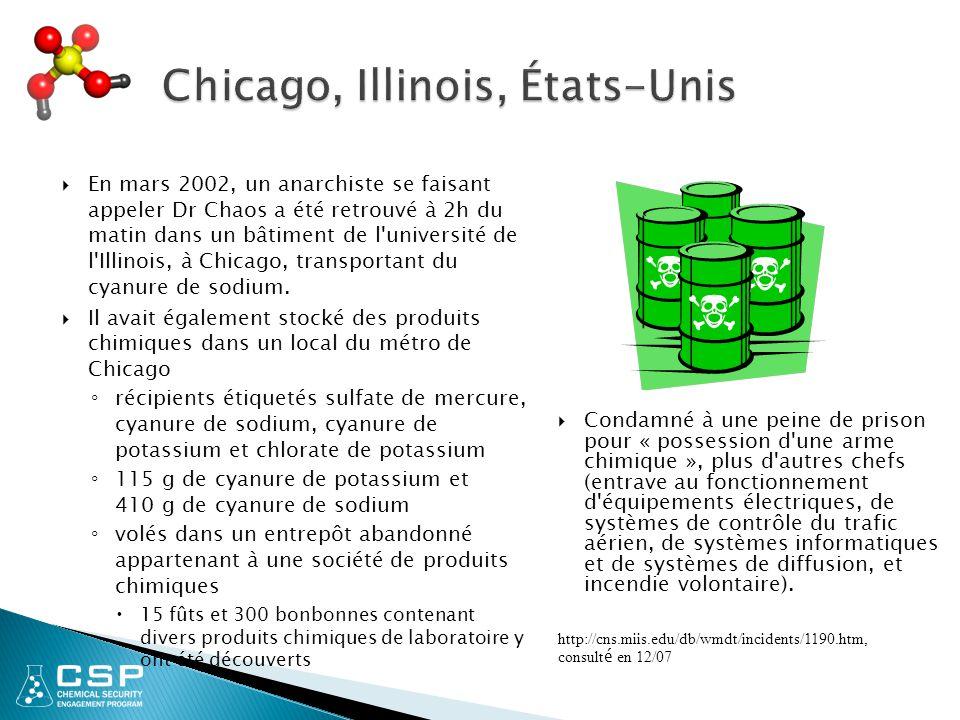  En mars 2002, un anarchiste se faisant appeler Dr Chaos a été retrouvé à 2h du matin dans un bâtiment de l université de l Illinois, à Chicago, transportant du cyanure de sodium.