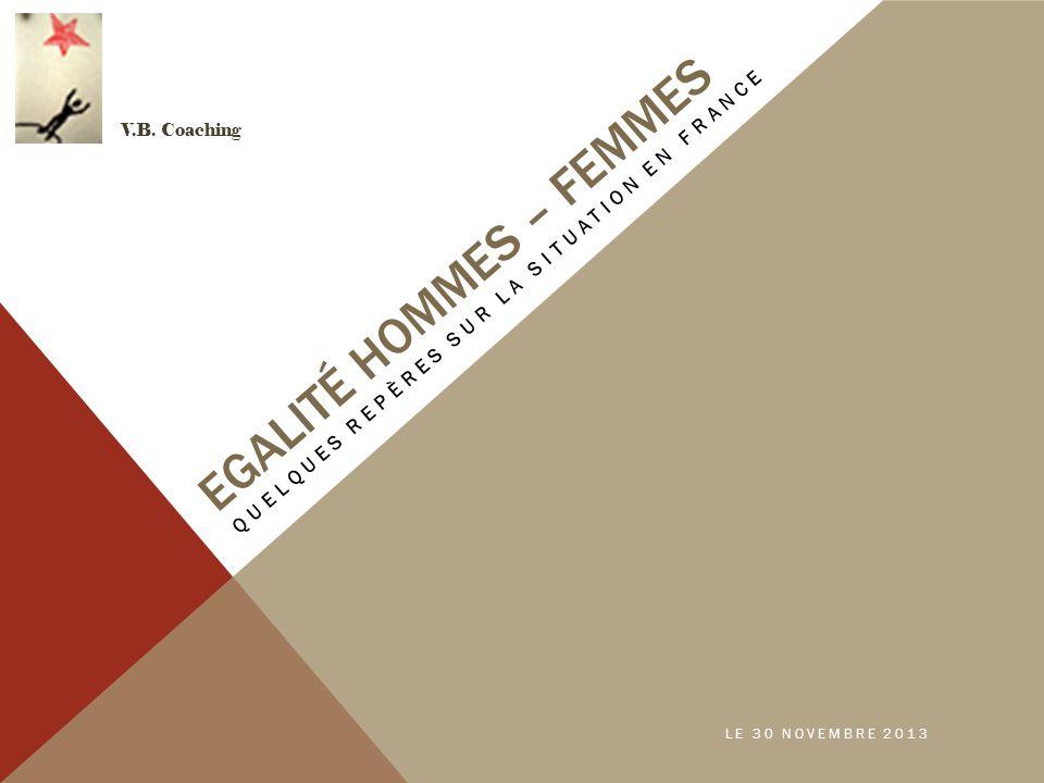 EGALITÉ HOMMES – FEMMES QUELQUES REPÈRES SUR LA SITUATION EN FRANCE V.B. Coaching LE 30 NOVEMBRE 2013