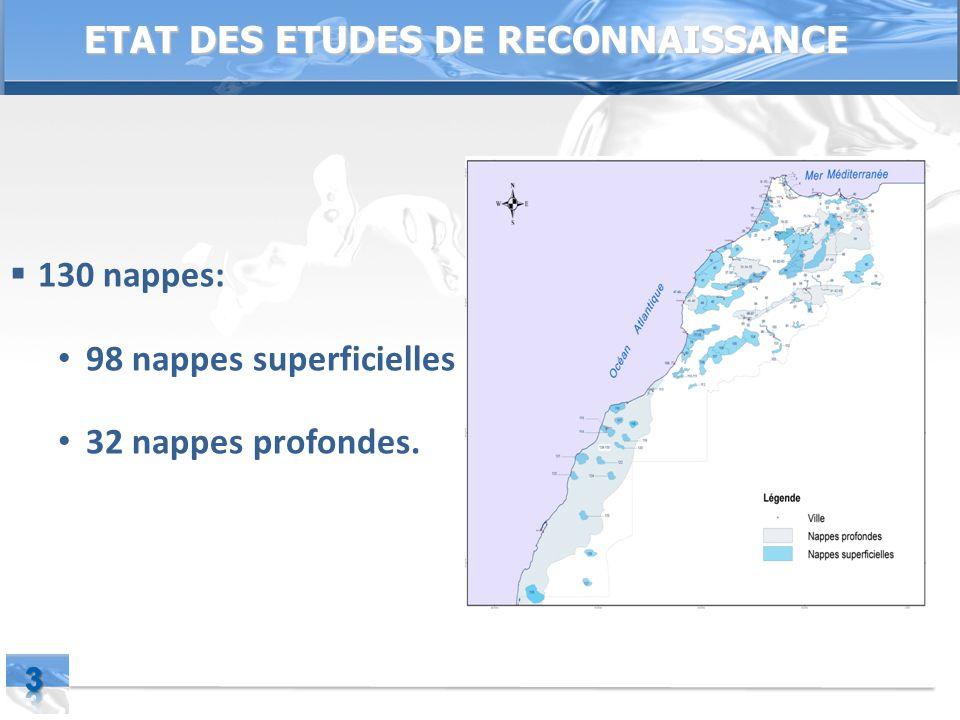Page  3 ETAT DES ETUDES DE RECONNAISSANCE  130 nappes: 98 nappes superficielles 32 nappes profondes.
