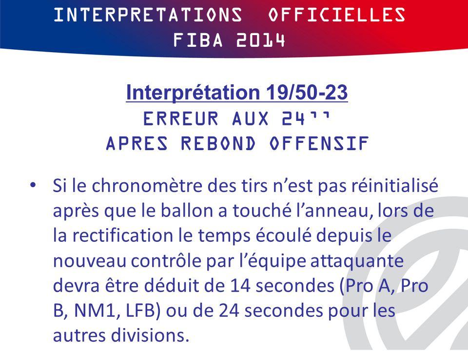 INTERPRETATIONS OFFICIELLES FIBA 2014 Si le chronomètre des tirs n'est pas réinitialisé après que le ballon a touché l'anneau, lors de la rectification le temps écoulé depuis le nouveau contrôle par l'équipe attaquante devra être déduit de 14 secondes (Pro A, Pro B, NM1, LFB) ou de 24 secondes pour les autres divisions.