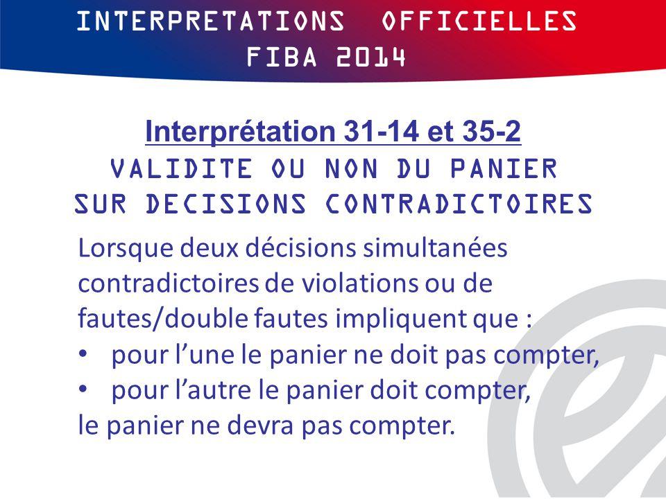 INTERPRETATIONS OFFICIELLES FIBA 2014 Lorsque deux décisions simultanées contradictoires de violations ou de fautes/double fautes impliquent que : pour l'une le panier ne doit pas compter, pour l'autre le panier doit compter, le panier ne devra pas compter.