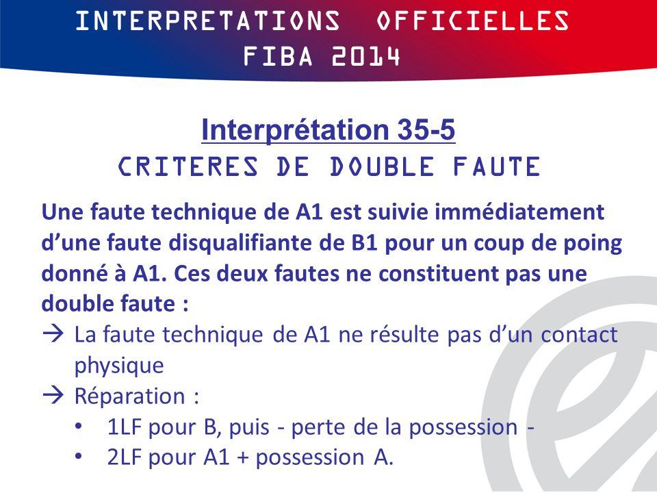 INTERPRETATIONS OFFICIELLES FIBA 2014 Une faute technique de A1 est suivie immédiatement d'une faute disqualifiante de B1 pour un coup de poing donné à A1.