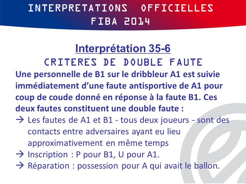 INTERPRETATIONS OFFICIELLES FIBA 2014 Une personnelle de B1 sur le dribbleur A1 est suivie immédiatement d'une faute antisportive de A1 pour coup de coude donné en réponse à la faute B1.