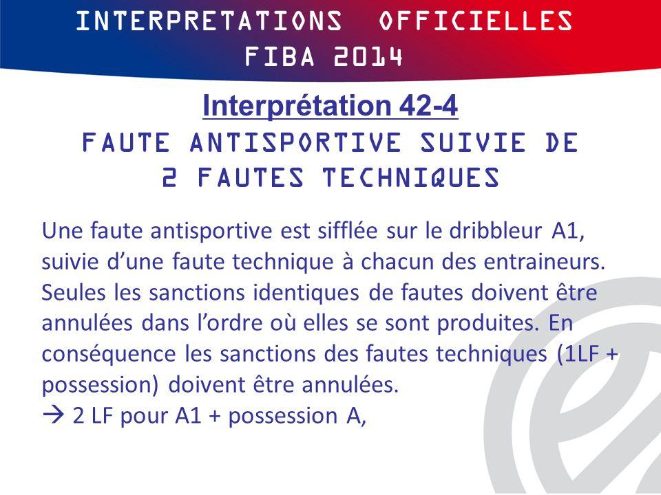INTERPRETATIONS OFFICIELLES FIBA 2014 Une faute antisportive est sifflée sur le dribbleur A1, suivie d'une faute technique à chacun des entraineurs.