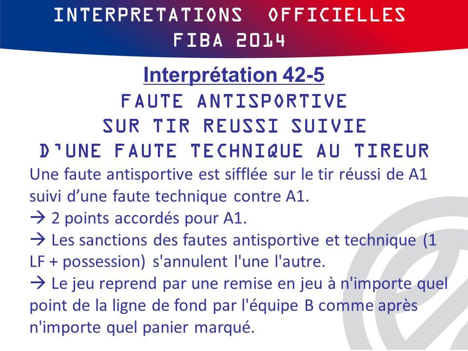INTERPRETATIONS OFFICIELLES FIBA 2014 Une faute antisportive est sifflée sur le tir réussi de A1 suivi d'une faute technique contre A1.