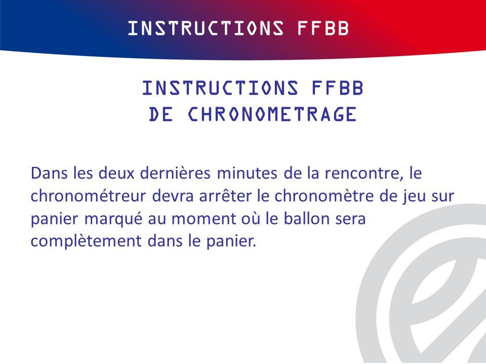 INSTRUCTIONS FFBB Dans les deux dernières minutes de la rencontre, le chronométreur devra arrêter le chronomètre de jeu sur panier marqué au moment où le ballon sera complètement dans le panier.