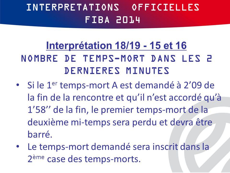 INTERPRETATIONS OFFICIELLES FIBA 2014 Si le 1 er temps-mort A est demandé à 2'09 de la fin de la rencontre et qu'il n'est accordé qu'à 1'58'' de la fin, le premier temps-mort de la deuxième mi-temps sera perdu et devra être barré.