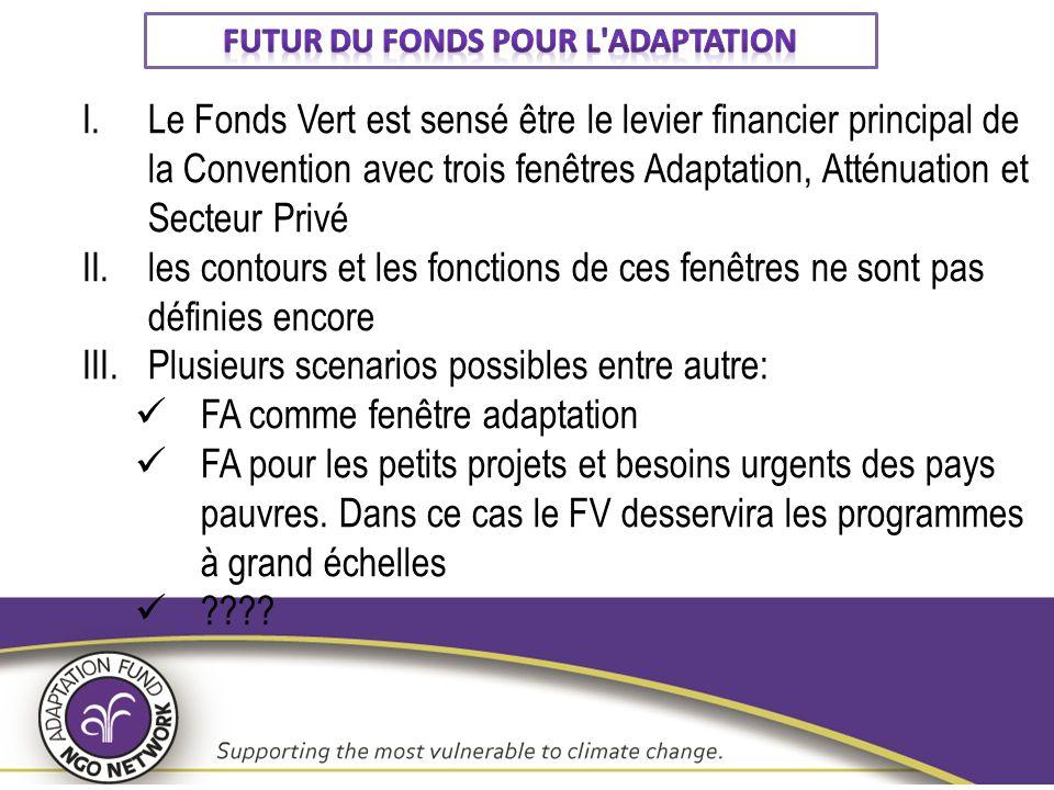 I.Le Fonds Vert est sensé être le levier financier principal de la Convention avec trois fenêtres Adaptation, Atténuation et Secteur Privé II.les cont