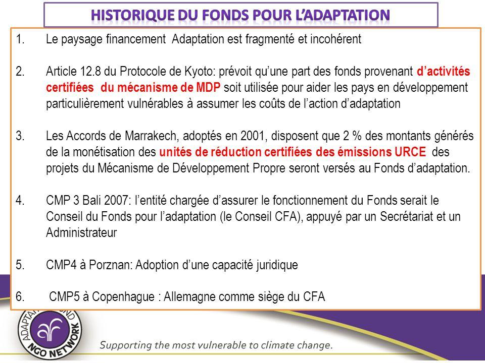 1.Le paysage financement Adaptation est fragmenté et incohérent 2.Article 12.8 du Protocole de Kyoto: prévoit qu'une part des fonds provenant d'activi