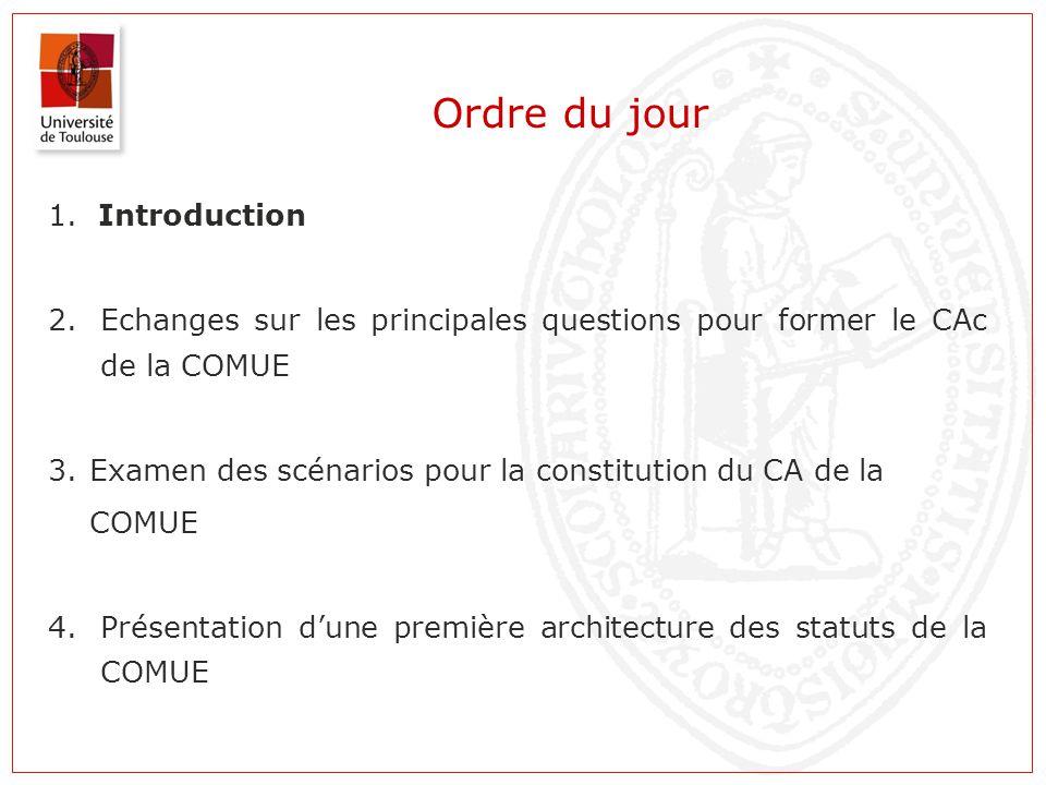 Ordre du jour 1. Introduction 2.Echanges sur les principales questions pour former le CAc de la COMUE 3. Examen des scénarios pour la constitution du