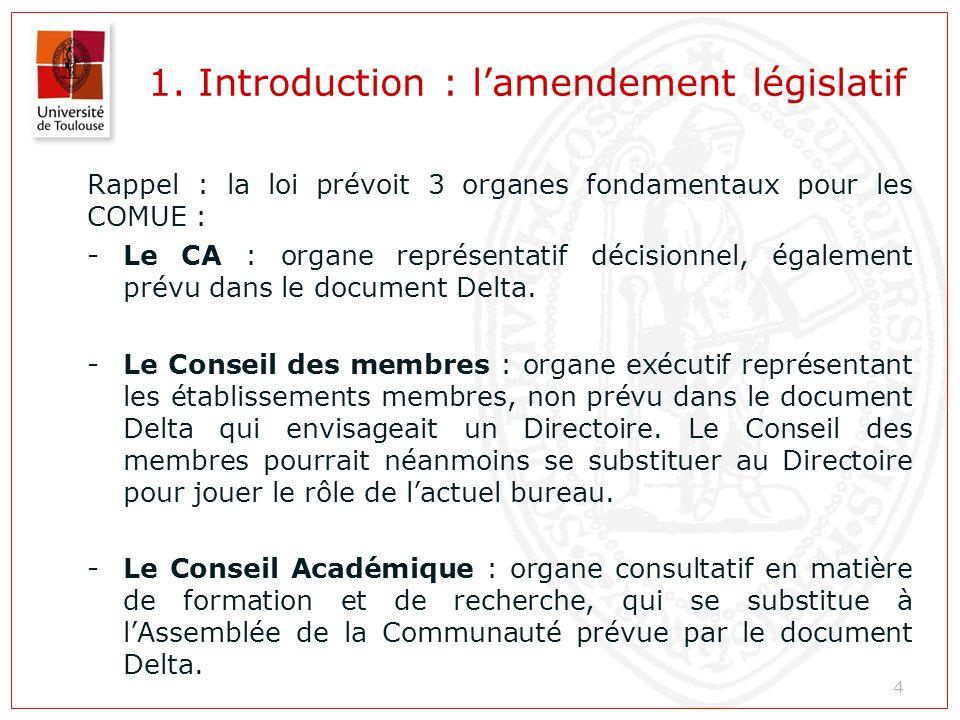 1. Introduction : l'amendement législatif Rappel : la loi prévoit 3 organes fondamentaux pour les COMUE : -Le CA : organe représentatif décisionnel, é