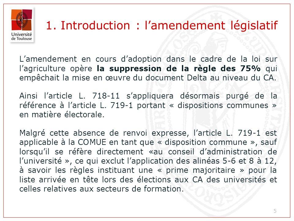 1. Introduction : l'amendement législatif L'amendement en cours d'adoption dans le cadre de la loi sur l'agriculture opère la suppression de la règle