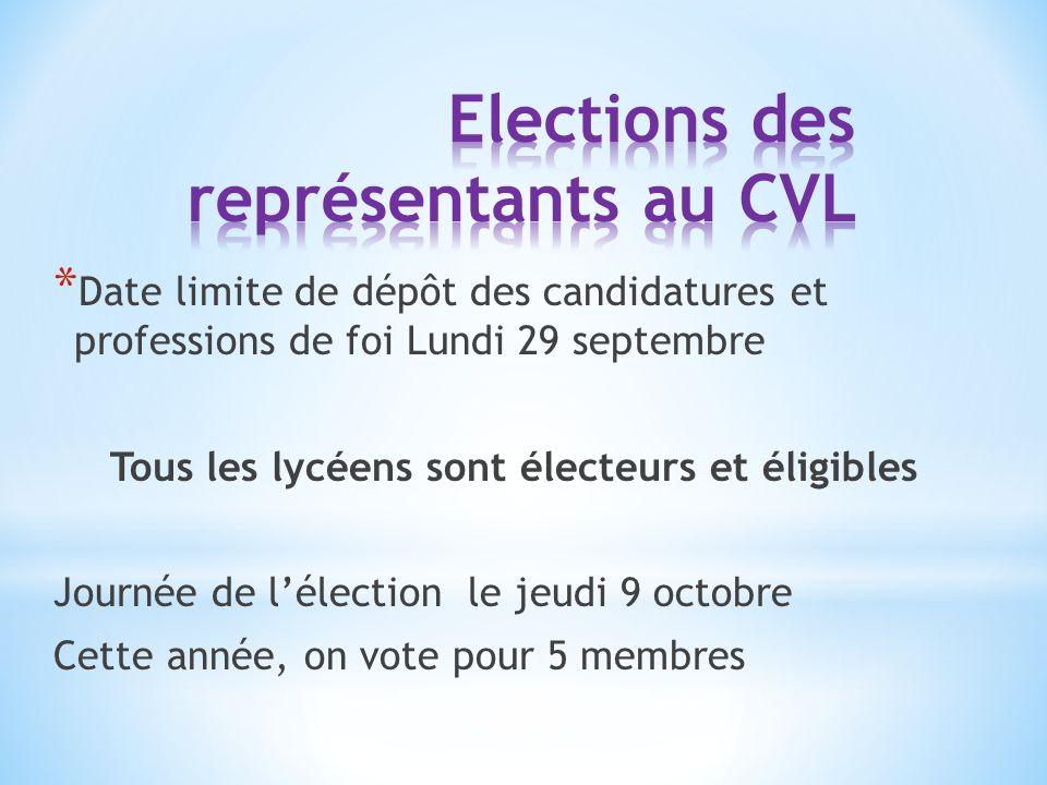 * Date limite de dépôt des candidatures et professions de foi Lundi 29 septembre Tous les lycéens sont électeurs et éligibles Journée de l'élection le jeudi 9 octobre Cette année, on vote pour 5 membres